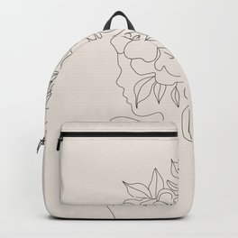 Woman with Flowers Minimal Line I Backpack