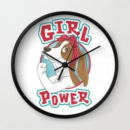 Basset Hound Girl Power Wall Clock