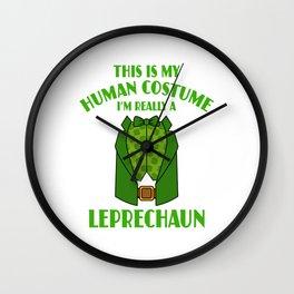 This Is My Human Costume Im A Leprechaun St Patricks Wall Clock