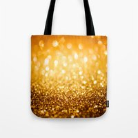 gold glitter Tote Bags featuring Gold Glitter Texture by Robin Curtiss