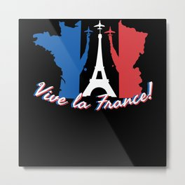 Vive La France Map Metal Print