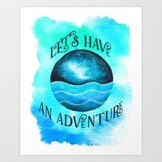 Let's Have an Adventure - Galaxy Ocean Wanderlust Watercolor Art Print
