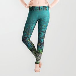 Tree Town - Magical Retro Futuristic Landscape Leggings