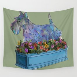Animals in Gardens: Scotty in a Flower Box Wall Tapestry