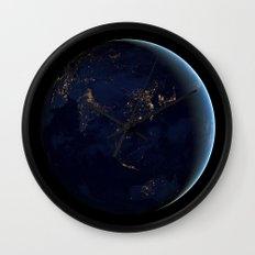 Asia at Night Wall Clock