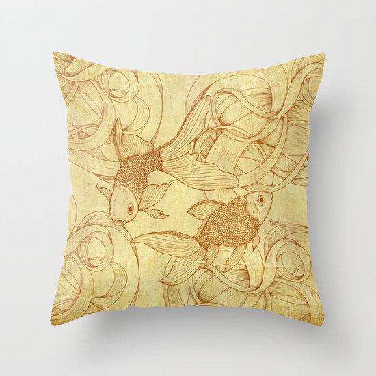 Vintage Goldfishes  Throw Pillow