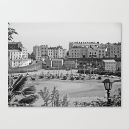 Tenby Harbour. Black+White. Reflection. Canvas Print