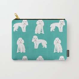 Toy poodle white poodles dog breed pet portrait pattern gifts pet friendly Carry-All Pouch