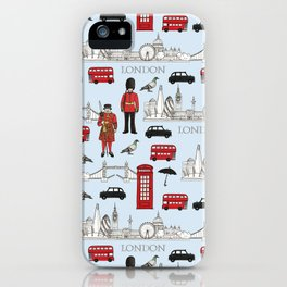 London Skyline and Icons iPhone Case