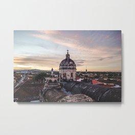 Belltower of church in Granada, Nicaragua at sunset Metal Print