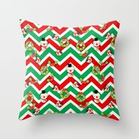 cartoons Throw Pillows featuring Festive Christmas Cartoons on Chevron Pattern by Kirsten Star