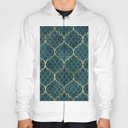 Vintage decorative moroccan illustration pattern with gold contour line. Watercolor hand painted dark teal blue stained-glass window design. Golden luxury illustration. Art nouveau. Hoody