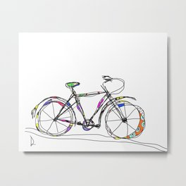 Colorful Bicycle Line Art Metal Print