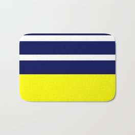 Summer Patio Perfect, Yellow, White & Navy Bath Mat