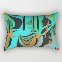 A Happy Orange, Green, and Blue Abstract Rectangular Pillow