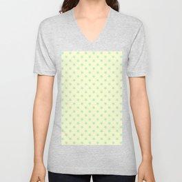 Magic Mint Green on Cream Yellow Stars Unisex V-Neck