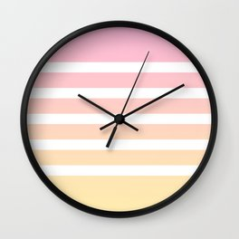 Pink yellow white lines Wall Clock