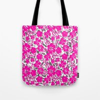 flower pattern Tote Bags featuring Flower Pattern  by Sammycrafts