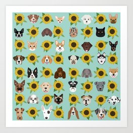 Dogs and cats pet friendly sunflowers animal lover gifts dog breeds cat person Art Print