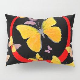 YELLOW BUTTERFLIES & RED RING  ABSTRACT ART Pillow Sham