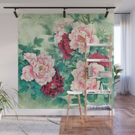 Light pink and purple peonies Wall Mural