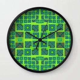 Retro Techno Glitch Quilt Green Print Wall Clock