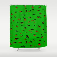 battlefield Shower Curtains featuring Dead by Rob White