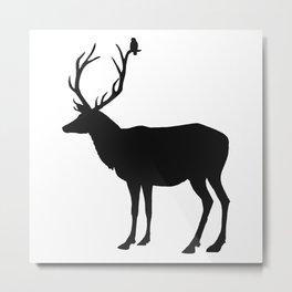 Black & White - Buck and Bird Metal Print