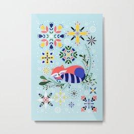 Happy Raccoon Card Metal Print