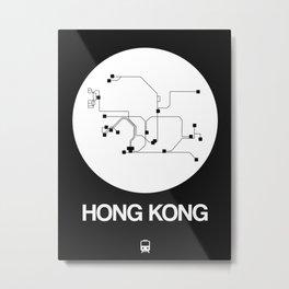Hong Kong White Subway Map Metal Print