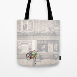 Red Bicycle in front of a Kennedys Bar Ireland Tote Bag