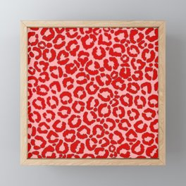 Bold Modern Red Pink Leopard Animal Print Framed Mini Art Print
