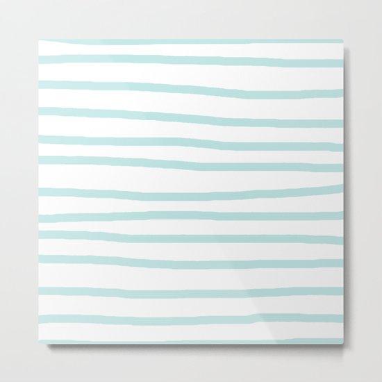 Simply Drawn Stripes Succulent Blue on White Metal Print