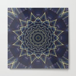 Mandala Flower blue Metal Print