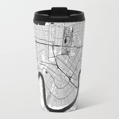 New Orleans Map Gray Travel Mug