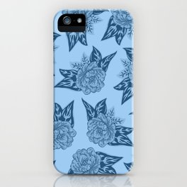 Cabbage Roses in Blue iPhone Case
