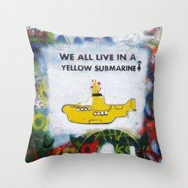 Yellow Submarine Graffiti Throw Pillow