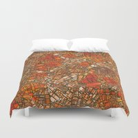maps Duvet Covers featuring Fantasy City Maps 3 by MehrFarbeimLeben