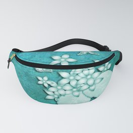 Teal on teal butterflies and flowers Fanny Pack