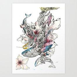 Trio Whales Art Print
