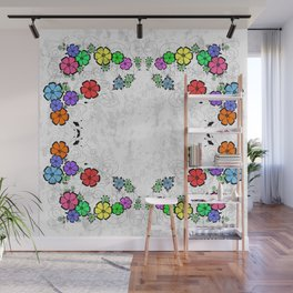 Abstract floral frame on grunge background Wall Mural