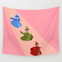 fairies Wall Tapestries featuring 3 Fairies (Pink) by karla estrada