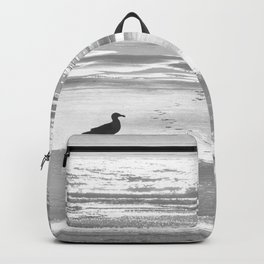 BIRDIE WALKING ON THE BEACH AT SUNSET - BLACK AND WHITE Backpack