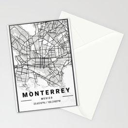 Monterrey Light City Map Stationery Cards