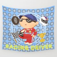 racing Wall Tapestries featuring Racing Driver by Alapapaju