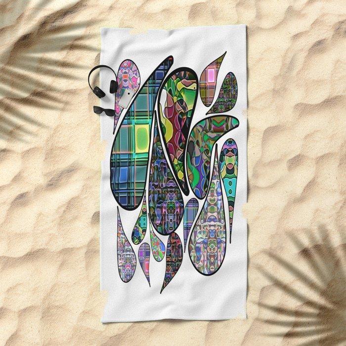 Patterned Teardrops Beach Towel