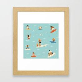 Surfing kids Framed Art Print