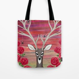 white tailed deer, spiders, roses Tote Bag