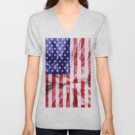American Flag Extrude Unisex V-Neck