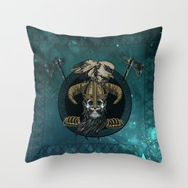 Awesome viking skull with eagle Throw Pillow